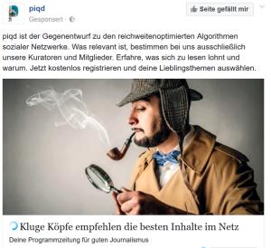 Kombiniert: Piqd (Screenshot Facebook-Anzeige)